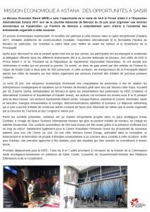 Article MEB - Mission Economique Astana - 29 juin 2017